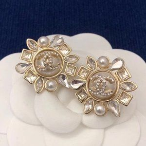Chanel CC Button Pearl Gold Earrings